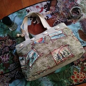 Heidi Dobrott Hawaiian Print Tote Shopper Bag VTG